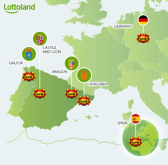 Map of Spanish lottery winning towns